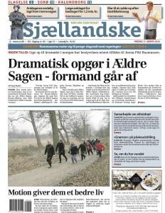 Omtale af Specialfys' udemotionshold på forsiden af Sjællandske d. 11. marts 2016.